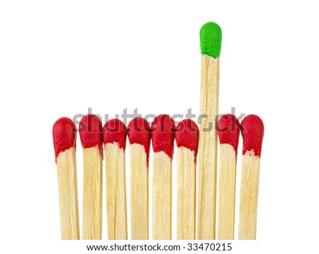 Matches - leadership concept, isolated on white background - stock photo