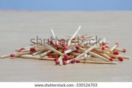 matchstick batch on the floor - stock photo