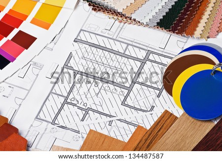materials and accessories to choose finishing the interior - stock photo