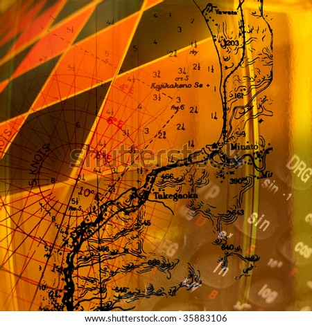 Math and science abstract, navigating and game theory - stock photo