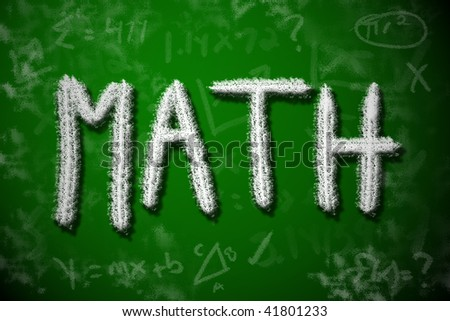 Math class drawing on chalkboard. Math education concept. - stock photo