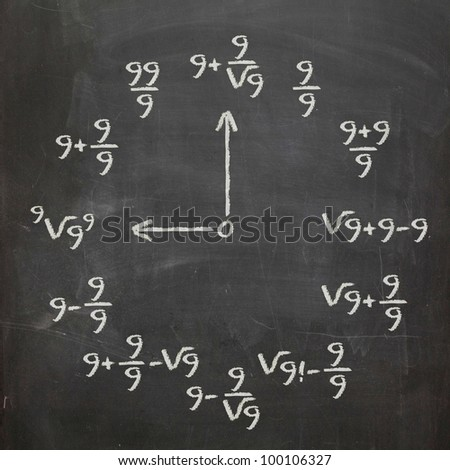 Math clock with all nines on chalkboard - stock photo