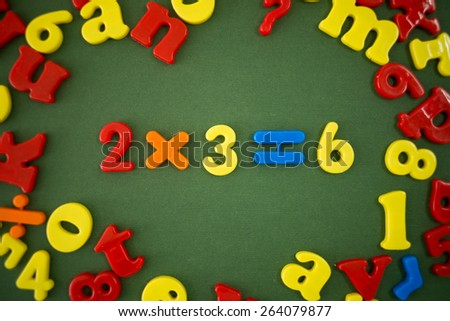 Math example of plastic magnetic numbers - stock photo