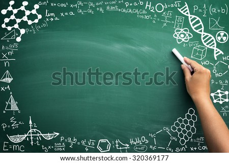 math formulas on a blackboard with copy space - stock photo