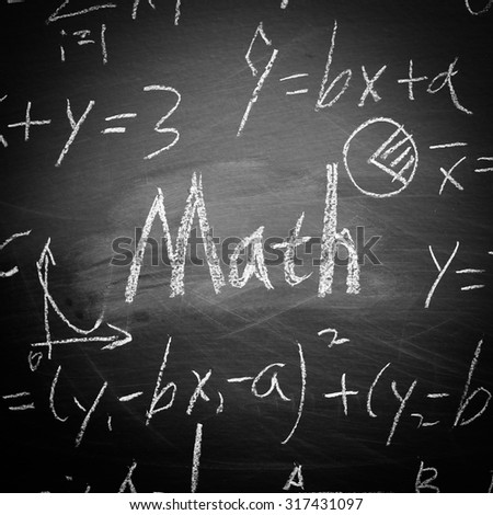 Math text with some maths formulas on chalkboard background. - stock photo