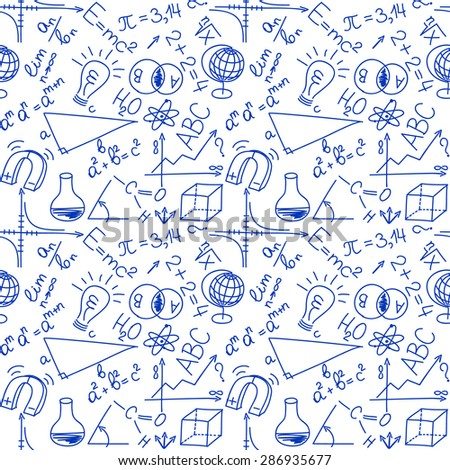 Mathematical and physical equations and formulas, seamless background - stock photo