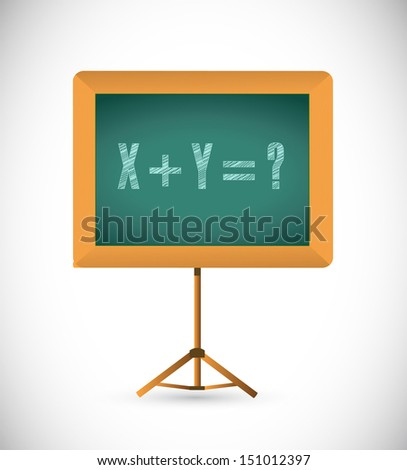 mathematical equation on a chalkboard. illustration design over white - stock photo