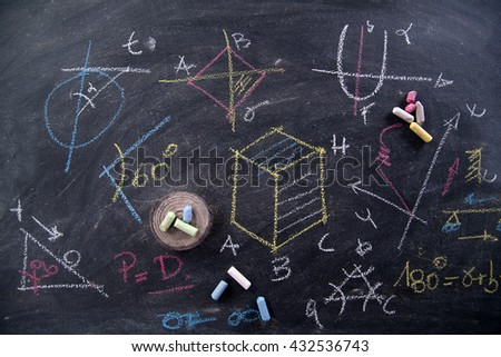 mathematical formulas on the blackboard with chalk - stock photo