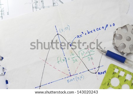 Mathematical function graph sketch on a napkin. - stock photo