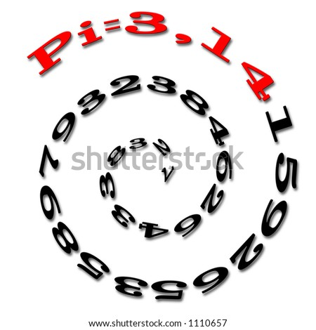 Mathematical magic number : Pi written on an Archimedes spiral. - stock photo