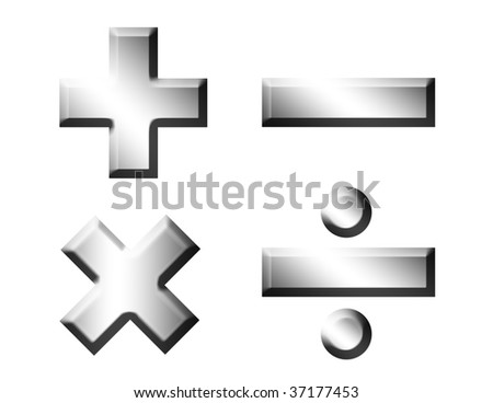 Mathematics chrome symbols over white background. Illustration - stock photo