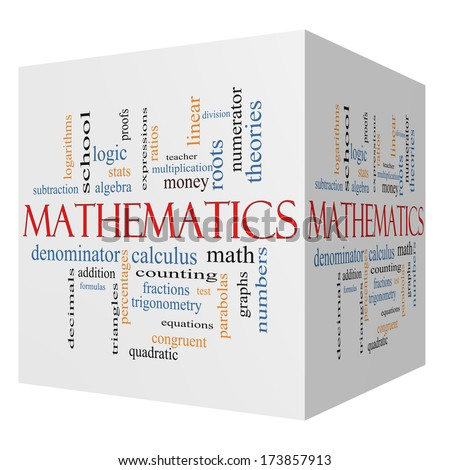 Mathematics 3D cube Word Cloud Concept with great terms such as fractions, algebra, calculus and more. - stock photo