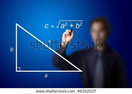 mathematics teacher writing geometry picture and calculation equation - stock photo