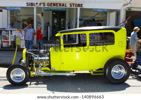 "MATHEWS, VA- JUNE 01:1929 Ford Streetrod left side in the Annual: Vintage TV's ""Chasing Pavement Vintage Automotive Festival"" in Mathews, Virginia on June 01, 2013 - stock photo"