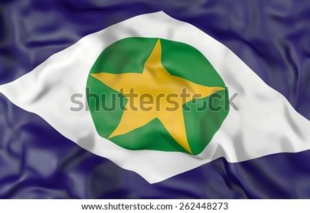 Mato Grosso state corrugated flag 3d illustration - stock photo