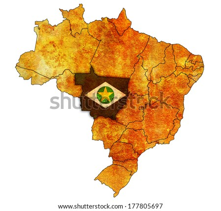 mato grosso state on administration map of brazil with flags - stock photo