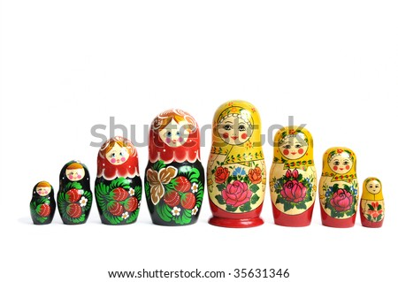Matreshka line isolated russian doll on white - stock photo