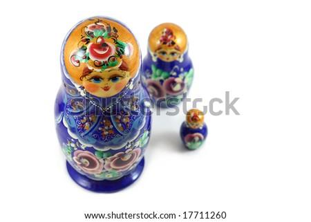 matrushka dolls isolated on white - stock photo