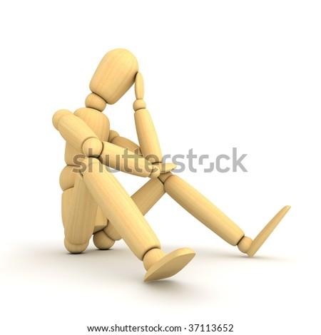 matt wooden grey lay figure sitting on a white ground thinking - stock photo