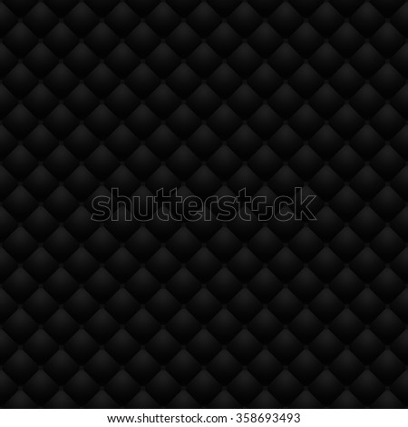 Matte black quilted leather upholstery. Digitally generated leather upholstery raster seamless pattern. Can be used in web design and graphic design as a dark monotone background, in 3D rendering. - stock photo