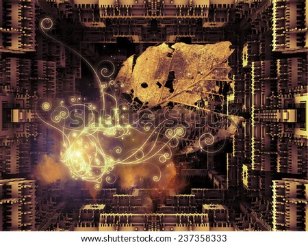 Matter Can Dream series. Composition of fractal frames, graphic elements and lights with metaphorical relationship to imagination, technology and design - stock photo