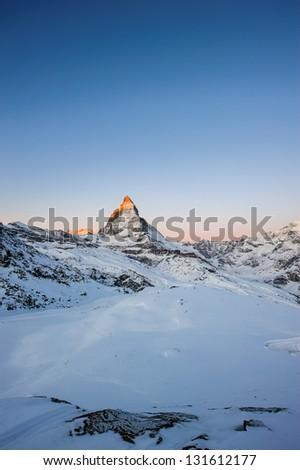 Matterhorn at sunrise, view from Gornergrat, Zermatt, Valais, Switzerland - stock photo