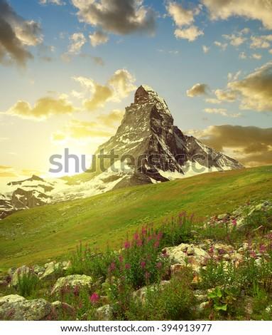 Matterhorn in the sunset - Pennine alps, Switzerland. - stock photo