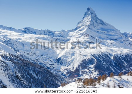 Matterhorn peak in sunny day - stock photo