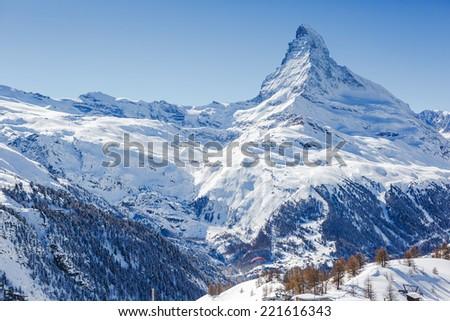 Matterhorn peak in sunny day - stock photo