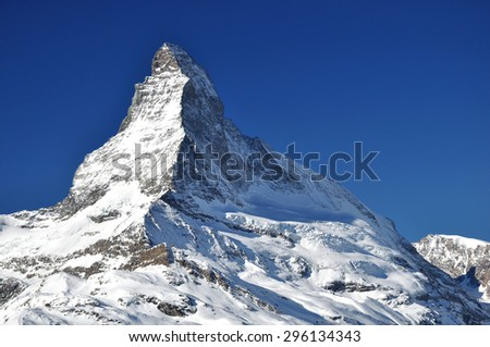 Matterhorn peak in sunny day, Switzerland. Matterhorn (peak Cervino) in Swiss Alps. - stock photo