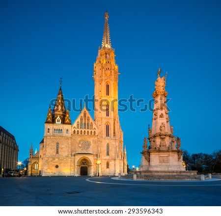 Matthias church and Statue of Holy Trinity in Budapest, Hungary, early evening - stock photo