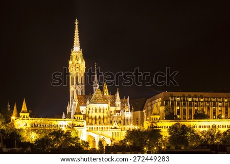Matthias church and the Fisherman's Bastion at night in Budapest Hungary - stock photo