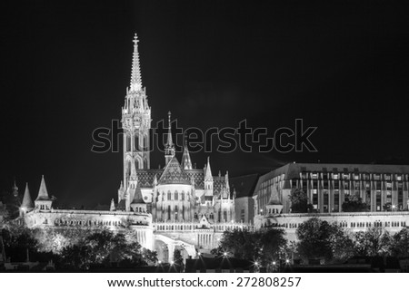 Matthias church and the Fisherman's Bastion at night in Budapest Hungary   Black & White - stock photo