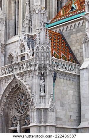 Matthias church wall detail Budapest - stock photo