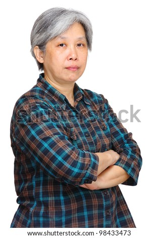 mature asian woman over white background - stock photo