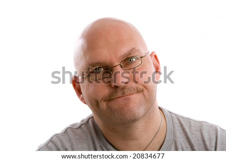 Mature balding man looking very annoyed - stock photo
