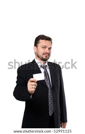 Mature business man handing a blank business card over white background - stock photo