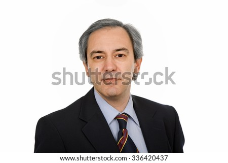 mature business man portrait in white background - stock photo