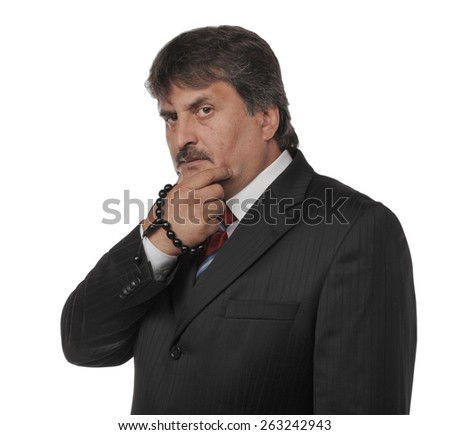 Mature business man standing isolated on white background thinking - stock photo