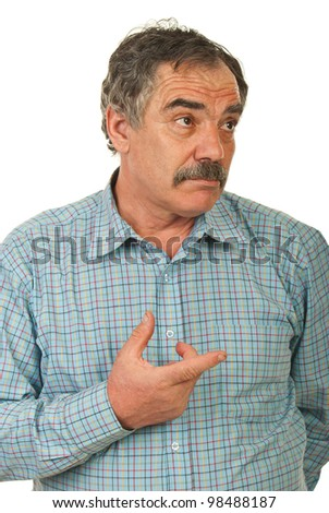 Mature business man thinking and being confuse pointing to a side isolated on white background - stock photo