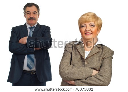 Mature business people team standing with arms folded,businesswoman in front of image isolated on white background - stock photo