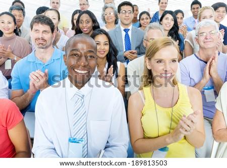 Mature business porple attending seminar - stock photo