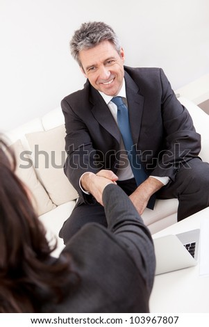 Mature businessman at the hiring interview in the office - stock photo