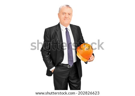 Mature businessman holding a protective helmet isolated on white background - stock photo