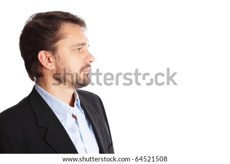 Mature businessman looking at copyspace, isolated over white background - stock photo