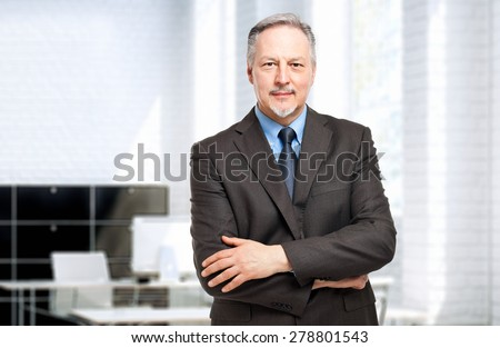 Mature businessman portrait in his office - stock photo