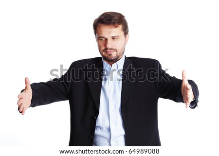 Mature businessman shows something big, isolated over white background - stock photo