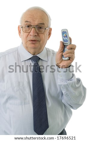 Mature businessman throwing his cell phone, isolated on white background - stock photo