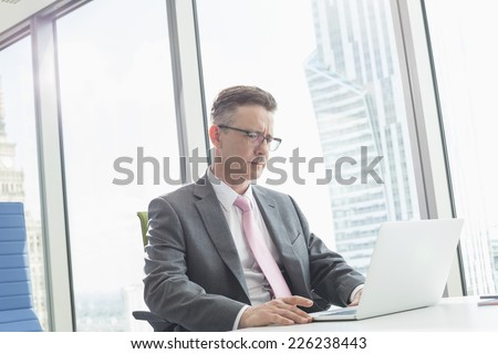 Mature businessman using laptop in office - stock photo