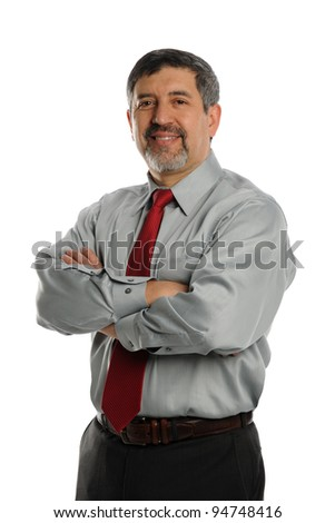 Mature Businessman with crossed arms smiling on a white background - stock photo